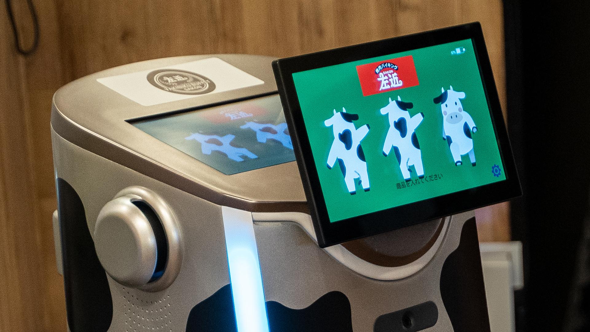サービスロボットSAKURAの前面HDタッチスクリーン